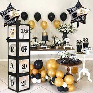 2021 Graduation Balloon Boxes Decorations 4 pieces Black Graduation Party
