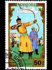 Mongolie vintage cachet timbre tir à l'arc photo Art Imprimé Poster Photo bmp1697a