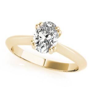 DIAMOND ANNIVERSARY RING OVAL E SI2 1 CARAT SOLITAIRE 14K YELLOW GOLD SIZES 4-9