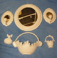 Homco Burwood White Hobnail 6 Pieces Mirror, Mirrored Candleholders 1984