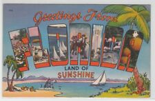 [66671] OLD LARGE LETTER POSTCARD GREETINGS from FLORIDA (LAND of SUNSHINE)