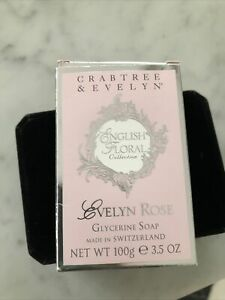 Crabtree Evelyn ENGLISH FLORAL Evelyn rose Glycerine Bar Soap 100g NEW
