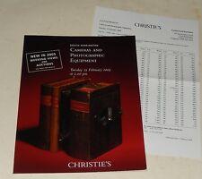 CATALOGUE de VENTES CHRISTIE'S Cameras and Photographic Equipment 2005 : LEICA..