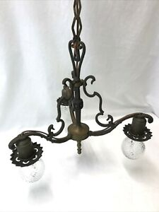 Antique, Vtg Chandelier Arts & Crafts Hammered Copper & Brass Deco Hanging Light