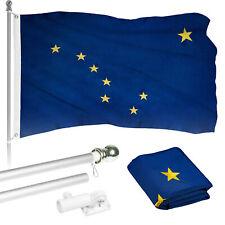 G128 6ft Aluminum Flagpole (Silver) & Alaska Flag Embroidered 3x5ft