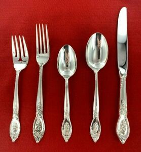 Lunt Silversmith Rose Elegance Sterling Silver No Monogram 5 Piece Place Setting