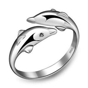 Double Dolphin Ring Sterling Silver 925 Sea Life Jewellery Fashion Accessory Fun
