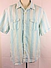 Tommy Bahama Men's Button Front short  Sleeve 100% Linen Striped Size Large