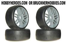 1:8 GRP GT Rubber GTK02 - S2 XSoft Slick Tires (4) Silver Spoke Rims Free Ship