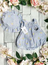 🍋 0-3 Months Jasper Conran Baby Girls Lemon Set Outfit 2pcs Hat Beech 🍋