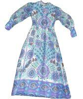 Vintage 70's Maxi Dress Puff Poet Sleeves Flower Power Purple Teal XS 6 8 Boho