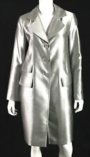 ST. JOHN COUTURE Metallic Silver Satin Jeweled Button Front Coat 6