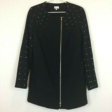 Tokito Collection Womens Black Lined Long Sleeve Zipper Jacket Size 6