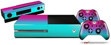 Smooth Fades Neon Teal Hot Pink Skin Set fits XBOX One Console Controllers