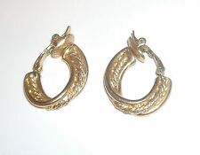 Vintage Trifari Knot Hoop Earrings Gold tone Clips