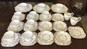 40 Pcs Of Antique English Bone China Tea Set. Hand Painted. Floral & Gilt