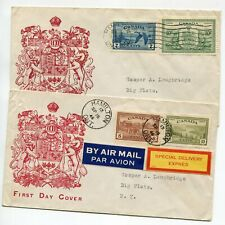 Canada 1946 Special Delivery Express First Day Cachet 2 Covers Geese USA