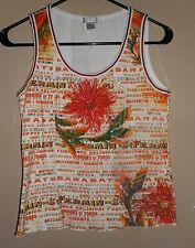 EUC Lapis Sleeveless GRAPHIC & EMBELLISHED Floral (FRONT) TANK TOP Sz L
