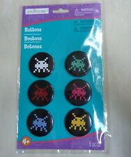 Creatology pk of 6 buttons pins 8-bit retro generic space monsters? party favors