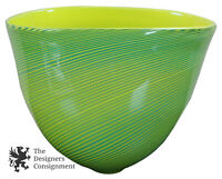 Brian Becher 2002 Signed Studio Art Glass Bowl Hand Blown Freeform Striped Vase