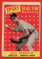 1958 Topps #483 Luis Aparicio VG MARKED Chicago White Sox Hall of Fame FREE S/H