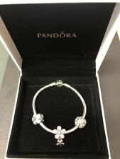 Pandora Moments Snake Chain Silver Charm Bracelet With Three Charms