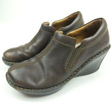 Born Womens Brown Leather Wedge Size US 8 EU 39 Mule Clog Shoes