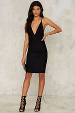 nasty gal Deeper and Deeper Plunging Dress black large new with tags olivaceous
