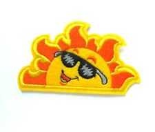 Sun With Shades Iron On Patch- Sunny Fun Happy Cool Embroidered Badge Applique