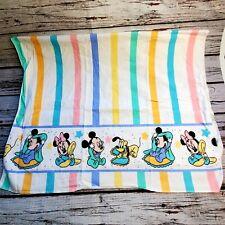 "Vintage Disney Baby Receiving Blanket Mickey Minnie Pluto Flannel 30""×40"""