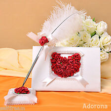 Ivory with Red Rose Heart Shape Wedding Ceremony Guest Book Feather Pen GB29b