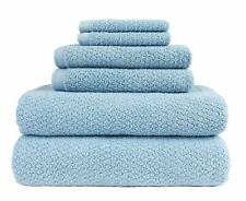 Everplush Diamond Jacquard Bath Towel 6pc Aquamarine Blue Soft Cotton Microfiber