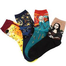 4 Pairs Soft Men Women Creative Oil Painting Van Gogh Mona Lisa Print Socks