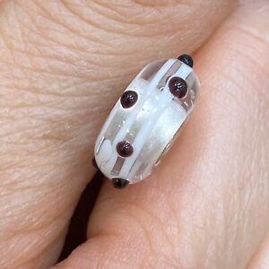 NEW Authentic Trollbeads Murano Glass Black Dot Troll bead 61305 White Silver