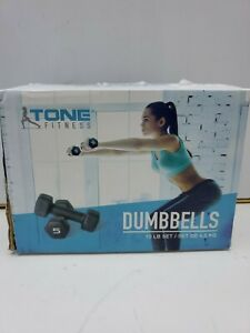 Tone Fitness Dumbbells 10 LB Set (Two 5 LB Weights) Green Weight Yoga 4.5 KG