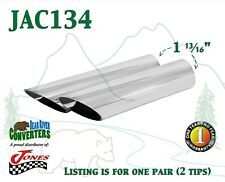 "JAC134 PAIR 1.75"" Chrome Angle Cut Exhaust Tips 1 3/4"" Inlet 2"" Outlet 8"" Long"