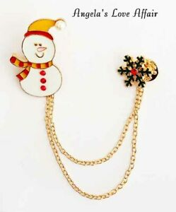 CHRISTMASY FAUX PEARL CRYSTAL ENAMEL SNOWMAN SNOWFLAKE DOUBLE PIN CHAIN BROOCH