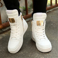 US Men's High Top Sneakers Ankle Boots Lace Up Skateboard Casual Shoes Zipper