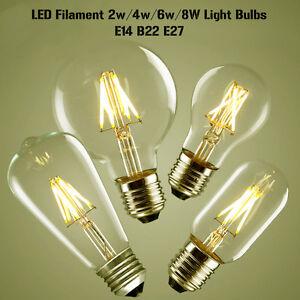 E27/B22/E14 LED Bulb Vintage Industrial 2W/4W/6W/8W Warm White Lamp Light Bulbs