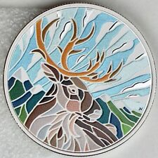 2018 $20 Canadian Mosaics: Caribou - 1 oz. 99.99% Pure Silver Color Proof Coin