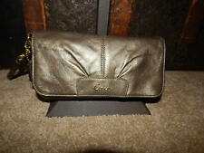 Coach Handbag Purse Large Wristlet F45981 Ashley Dune Pleated Bronze Leather Bag