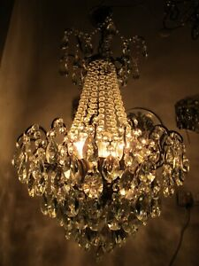 Antique French Gigantic Spider Style Crystal Chandelier Lamp 1940's Ø 19 in Dmtr