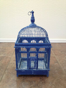 """Vintage Bird Cage Dome Top Wood Wire Blue Rustic 19"""""""