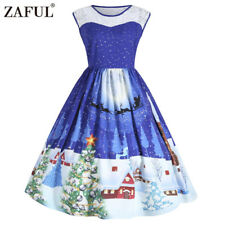 Women's Plus Size Christmas Vintage Ball Dress Lace XMAS Snow 50's Swing Dress