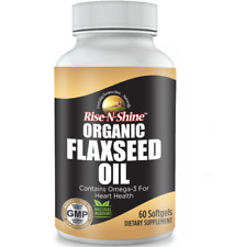 ORGANIC Flaxseed Oil Softgels Plant Based Omega 3 6 9 Vegan DHA & EPA Fatty Acid