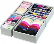 Set of 4 Gray Closet Underwear Organizer Drawer Divider Storage, Mold-proof