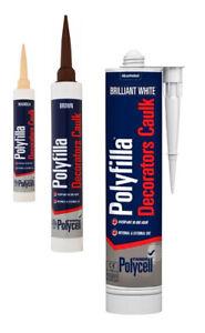 Trade Polycell Polyfilla Decorators Caulk 380ml Brilliant White, Magnolia Brown