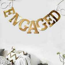 Gold Mirror Shiny Engaged Banner Engagement Wedding Party Decoration with Rings