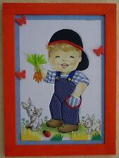 Joli cadeau pour chambre enfant.Tableau champêtre en carton-plume,motif poulbot