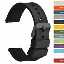 WOCCI 18 20 22 24mm Silicone Quick Release Watch Band Rubber Strap Black Buckle
